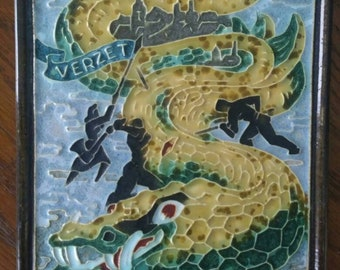 Art Pottery Vintage Cloisonne Tile Porceleyne Fles Delft Lizard Tegel