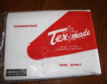 Vintage White Flat Sheet - Double Size - Packaged - TexMade