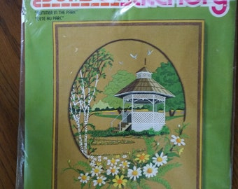 Summer in the Park, Vintage, Embroidery, Kit, Sunset, Stitchery, crewel, Needlepoint, gazebo, #2477CN
