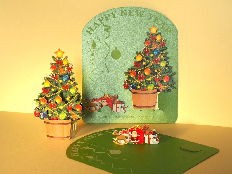 Christmas Popup 3d Gift Paper Cut Small Merry Christmas Tree Etsy