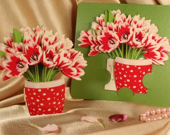 Tulip pop up etsy miss you gift pop up popup paper small 39 x 4 mightylinksfo
