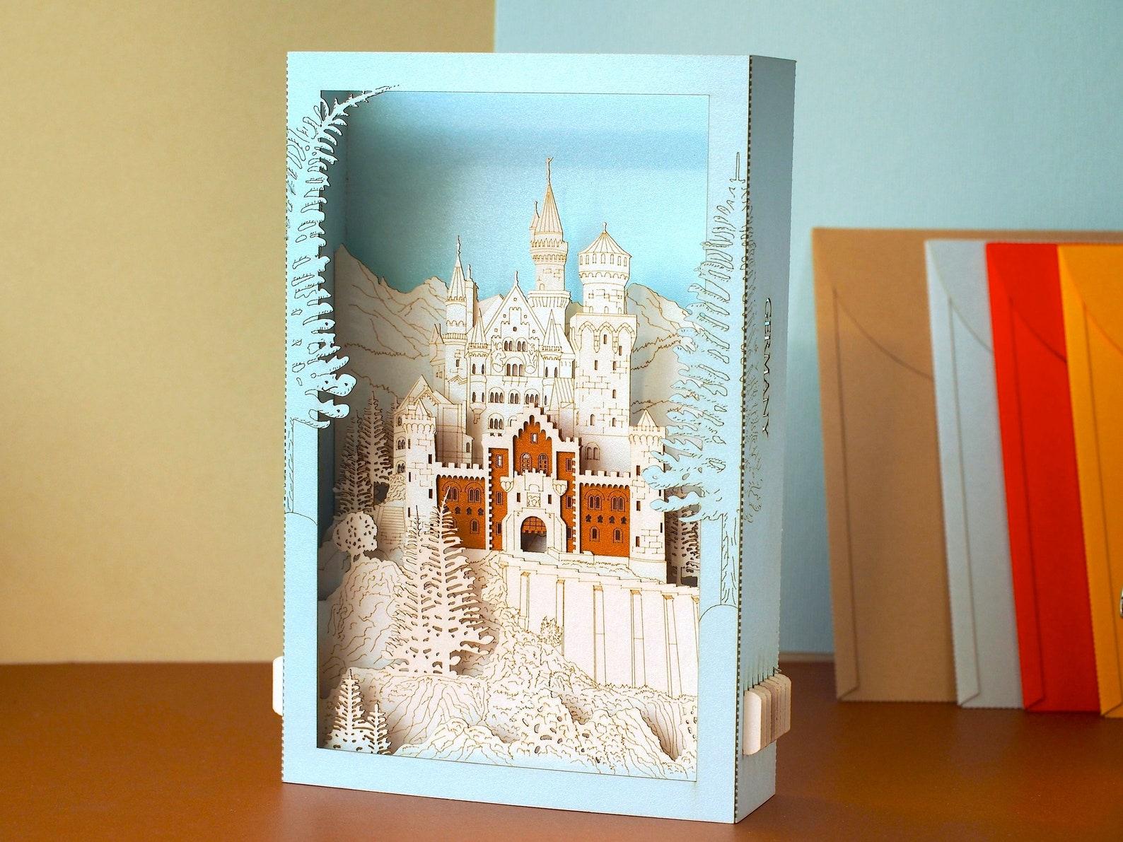 Neuschwanstein Schloss Castle Miniature pop up card art gift
