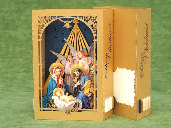 Pop Up Weihnachtskarte Weihnachten Krippe Szene Jesus Geburt | Etsy