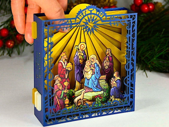 Christmas Jesus Birth Images.Christmas Card 3d Xmas 2020 Gift Nativity Scene Jesus Birth Mother Mary Holy Night Pop Up Crib Catholic Orthodox Gift Paper Altar Folds Flat