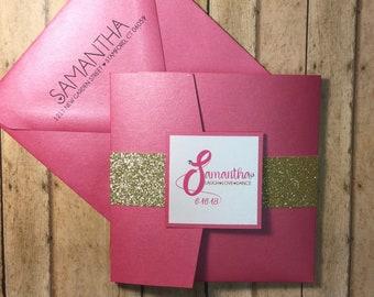New * Pink and Gold Pocketfold Invitation Set
