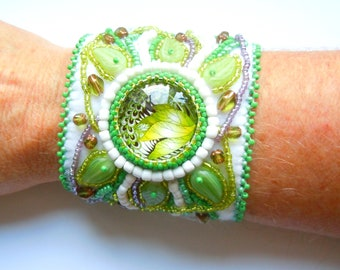 Beaded Idunn cuff (Norse goddess of youth and springtime)