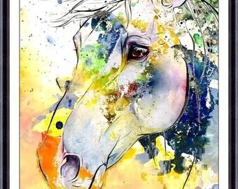 Horse watercolor painting print, Horse art, animal art, animal watercolor, animal portrait, Horse painting