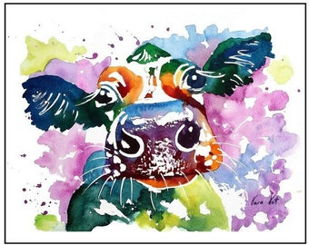 COW Original Watercolor Painting Original Art Print Watercolor Art