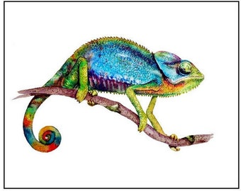 CHAMELEON Watercolor Art Print , Watercolor Painting, Print Colorful Chameleon