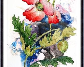 Flower art print, poppy painting art, poppy art, poppy watercolor art, red poppies, floral wall art, flowers art print, flower print