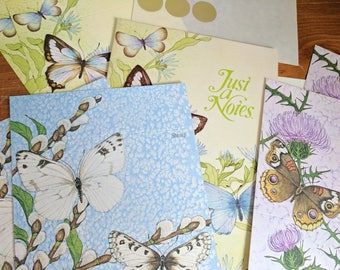 8 Butterfly Just a Notes by Current, Fold Over Postcards, 8 Notes and 3 Gold Seals, Four Yellow, Two Blue and Two Purple
