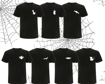 T-shirt ORIGAMI, cat, bat, spider, snake, owl, mouse, crow halloween version