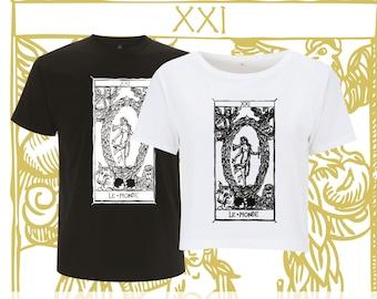 """T-shirt Le MONDE Tarot de Marseille"""" Tarot THE ARCANE WORLD"""