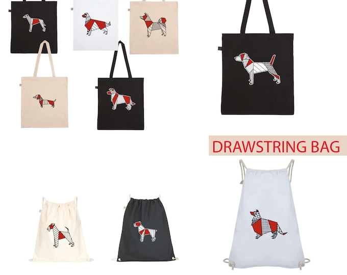 Tote BAG DRAWSTRING dog ORIGAMI pop akita, jack russel, collie, golden retriever, boxer, airedale, borden collie, greyhound