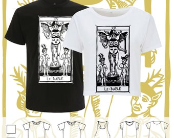 T-shirt LE DIABLE Tarot de Marseille Tarot Devil XV Traditional Cards