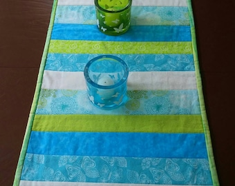 Aqua, Quilted Table Runner, Table Topper, Striped Table Runner, Table Cloth, Dining Table Runner, Table Decor, Beach House Decor