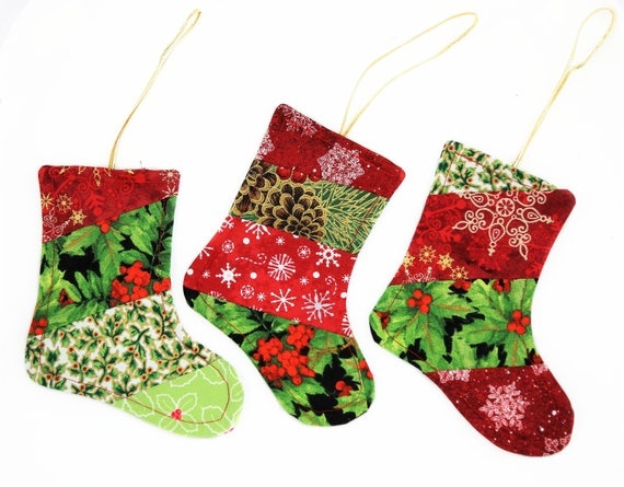 Fabric Christmas Ornaments Set Of 3 Quilted Christmas Stockings Handmade Christmas Tree Decorations