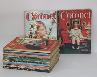 Coronet Random Vintage Magazines 1940's & 1950's Mixed Lot of 12 -  vintage advertisements from 1950's Elvis Article