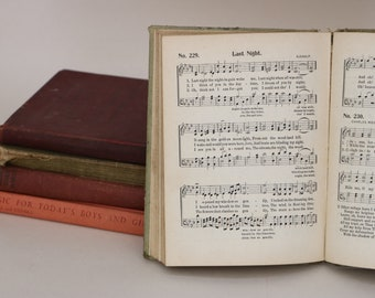 Vintage School Song Music Books - Lot of 5 - Sheet Music Pages for Crafts