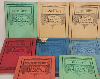 Warp's Review Workbooks Lot of 8 Arithmetic, Language, History, Grammar, Physiology Vintage School Books w/ 2 answer keys