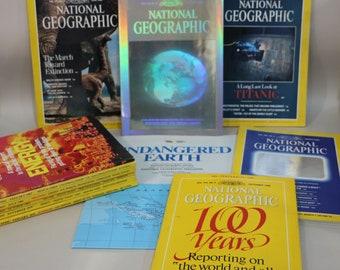 National Geographic Magazine Lot of 11 Magazines Random Mixed Lot - Titanic, Dinosaurs, Holograms