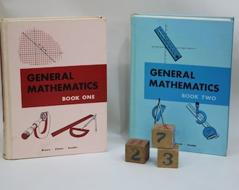 Vintage General Mathematics Book one & Book Two Math Hardcover School Books Study - Lot of 2 Books and 1 pamphlet