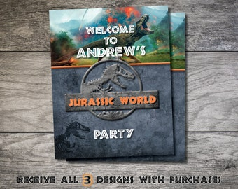 Jurassic World Party Signs Park Birthday Sign Welcome Dinosaur Printable Decor