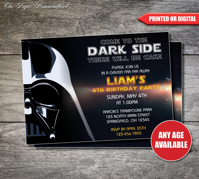 Star Wars Birthday Invitation Darth Vader Invite
