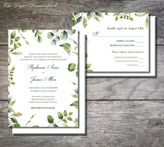 Garden Wedding Invitation Set Ivy Wedding Invite Garden Etsy