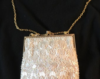 Vintage White Sequin Purse