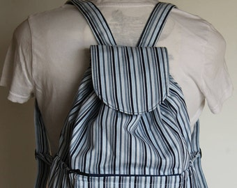 Woman's Small Striped Backpack, Small Knapsack in Blue Stripes