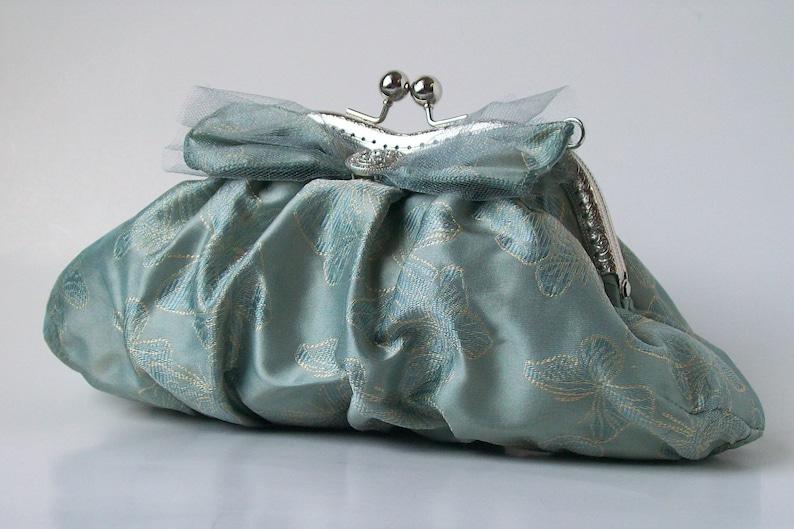 Lily D. Blue Silk Evening Clutch with Butterfly Motif Butterfly Clutch