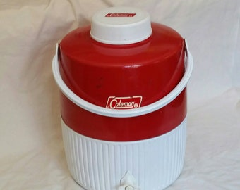 bab2e107d3 Vintage Coleman Jug, Red and White Large Thermos