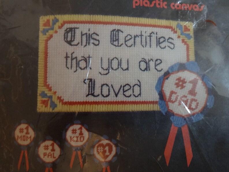 Vintage Number One Certificate Canvas Craft Kit Unopened