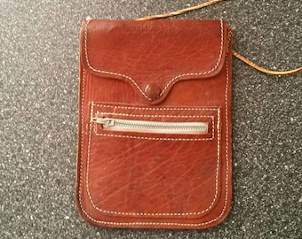 Leather Belt Pouch with Snap Closure and Outside Zipper Pocket