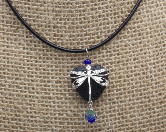 Dragonfly with lava stone heart oil diffuser necklace. Great gift for the special someone.
