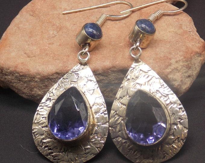 February birthstone Purple Amethyst and Denim Lapis gemstone earrings.