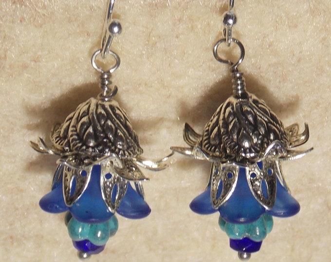 Blue flower earrings. Light weight earrings