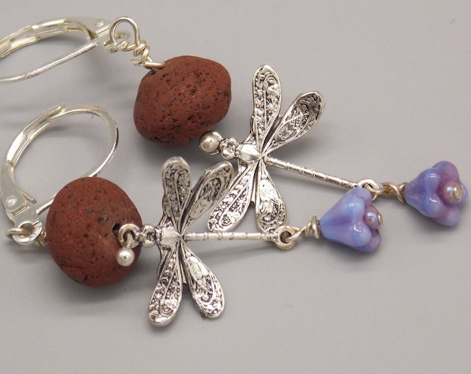 Dragonflies and bellflowers oil diffuser earrings. essential oil diffuser earrings
