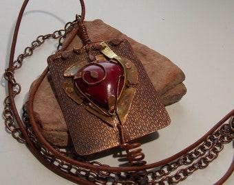 Heart multi media necklace. heart necklace, multi media necklace, copper necklace, boho necklace, rustic necklace, multi strand necklace