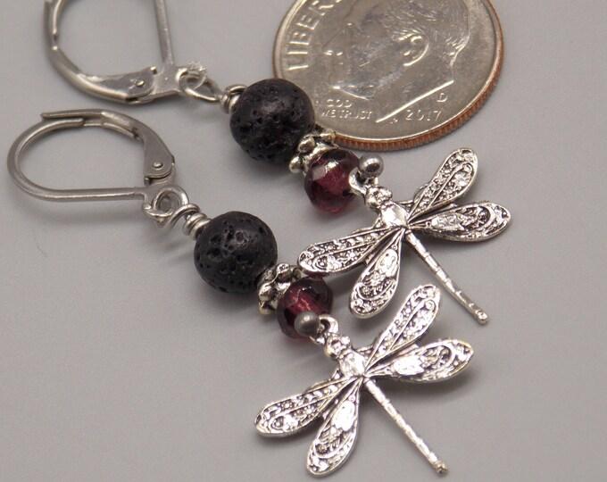 Minimalist Lava stone essential oil Diffuser Earrings.