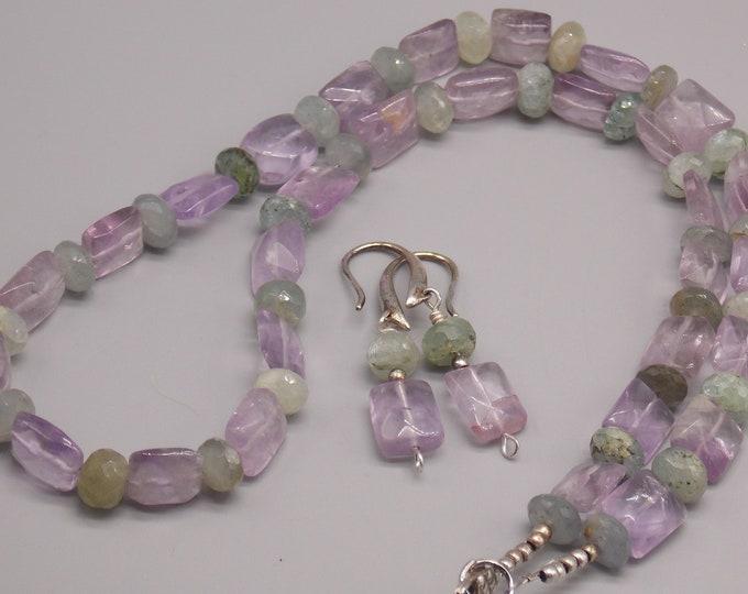 Purple Amethyst and Aquamarine gemstone jewelry set. Amethyst and Aquamarine gemstones