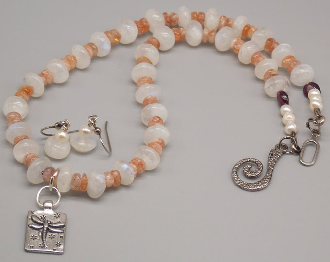 Dragonfly Moonstone, Sunstone, Pearls and Garnet Jewelry set.  Reversible