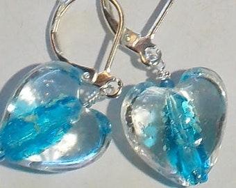 Glow in the dark heart earrings. glow earrings, glow heart earrings, heart earrings, blue glow earrings, dangle earrings, minimalist earring