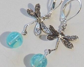 Dragonfly glow earrings. glow in the dark earrings, glow dragonfly earrings, flying dragonfly earrings, minimalist earrings, dangle earrings