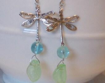 Long glow in the dark dragonfly earrings. long earrings, glow in the dark earrings, dragonfly earrings, hypo allergenic earrings, dangle
