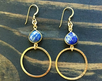 Gold hoop earrings, blue and gold earrings, gold, hoop earings, gemstone hoop earrings, gold hoop earrings, gold hoops,  gift for her