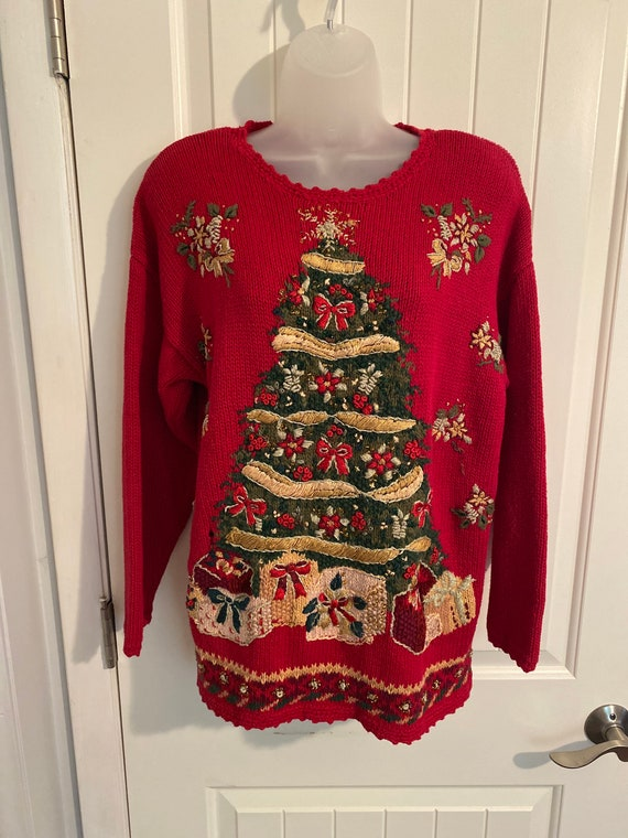 Vintage Tiara International Christmas Sweater, ugl