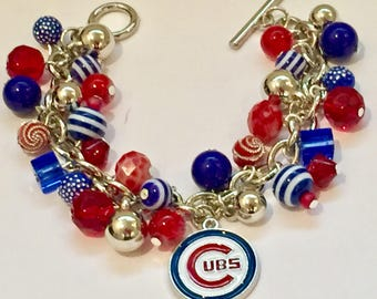 Chicago Cubs Charm Bracelet with various Red and Blue Beads
