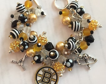 Boston Bruins Charm Bracelet with various Black, White and Gold Beads
